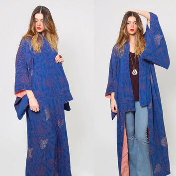 Vintage 70s KIMONO Woven Metallic Maxi DUSTER Silk Embroidered Jacket Coat Indigo Blue Graphic Draped Jacket