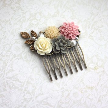 Ivory Rose, Grey Sakura, Pink Mum, Pearl, Brass Leaf Flower Hair Comb, Bridesmaids Gift, Wedding Comb. Pink and Grey Wedding. Rustic Country