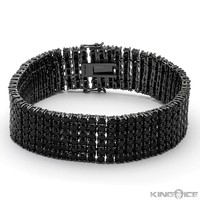 Icon 6 Row Men's Hip Hop Black Diamonds CZ Blackout Bracelet - Pharaoh Bracelets - Bracelets