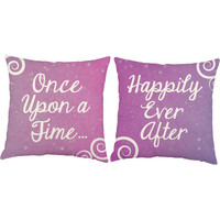 Set of 2 Once Upon a Time and Happily Ever After Throw Pillows - Fairytale Pillow Covers with or without Cushion Inserts - Princess Pillows