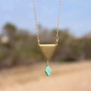 Brass Triangle + Turquoise Diamond Boho Choker Necklace // Geometric Bohemian Layered Necklace // Bridesmaid Jewelry - Bridal Jewelry