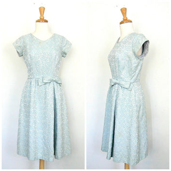 1950s Party Dress / 50s dress / brocade dress / short wedding dress / bridal /  full skirt dress / blue party dress / medium
