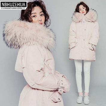 2017 High Quality Winter Down Jacket Women Slim Warm Thick Cute Pink Duck Down Coat Plus Size Real Fur Hood Parka Female Y325