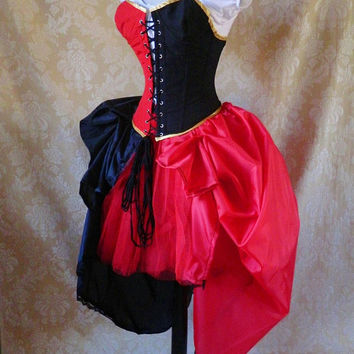 Harley Quinn Bustle Tie On Skirt and Tutu SetTo by AliceAndWillow