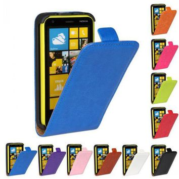 DCCKHY9 Retro Luxury Mobile Phone Bags Cases Crazy Horse Flip Cover PU Leather Case Forc Nokia LUMIA 620 N620