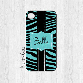 iPhone 4 Case, iPhone 4S Case, Zebra Print iPhone Case, Personalized iPhone Cover - K199