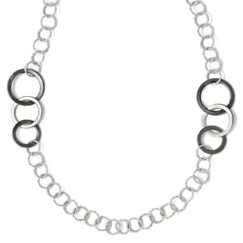 14k White Gold & Black Rhodium Italian Long Link Necklace, 31 Inch