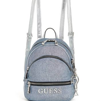 Manhattan Denim Mini Backpack at Guess