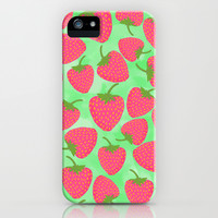 Strawberry Sweet in Green iPhone & iPod Case by Lisa Argyropoulos