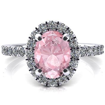 Talia Oval Pink Sapphire 4 Prong Halo 3/4 Micropave Engagement Ring