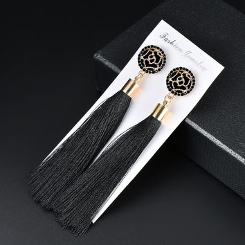Qusfy 19 Styles 9 Colors Crystal Flower Fringe Earings Earing Geometric Long Dangle Tassel Earrings 2018 Fashion Women Jewelry