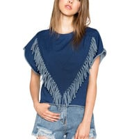 Blue V-Fringed Front Sleeveless Shirt