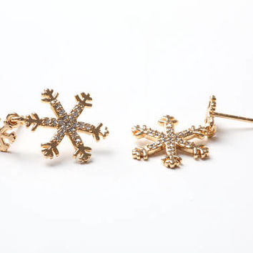 Free Shipping Snowflake Earrings Gold Snowflake Earrings Gold Color Earrings Costume Jewelry Gold Tone  Earrings Eardrops Christmas Earrings