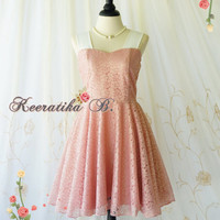 A Party Princess - 90s Vintage Inspired Dress Pink Nude Lace Party Dress Pink Prom Dress Pink Bridesmaid Dress Lace Tea Dress Custom Made