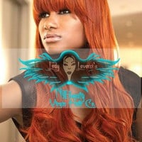 Custom Made Wig w/Bangs Cinnamon Red 100% Color Virgin Human Hair 200 Density **No Lace No Part**