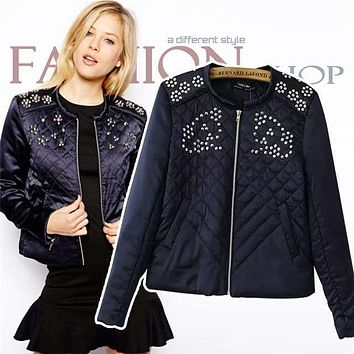 New Fashion Winter Coat For Women's Black Zipper Sequins Pattern Slim Cotton Jackets Down & Parkas