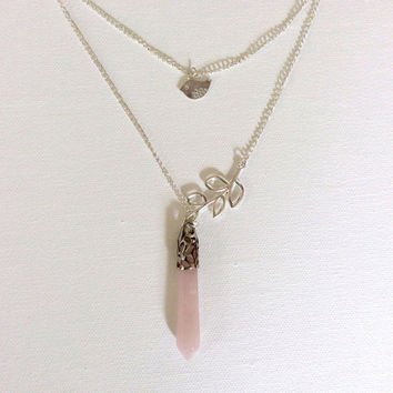 Forest Theme Necklace, Pink Quartz with Silver Bird and Tree Branch
