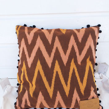 """Ikat pillow case, square pillow, ikat fabric zigzag design pillow in PINK, ORANGE and BROWN with pompom trim 16x16"""""""