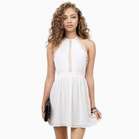 White Halter Backless with Lace Accent Pleated Mini Dress