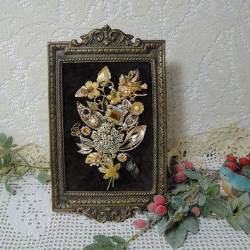 Framed Jewerly Art Picture , Vintage Jewerly Bird Nest , Metal Picture Frame , Upcycled Repurposed Jewerly Decor by VintageRedo