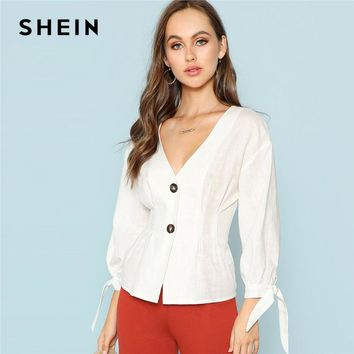 SHEIN White Knot Cuff Button Up Blouse Office Lady V Neck 3/4 Sleeve Cotton Top Women Autumn Plain Elegant Workwear Shirt Tops