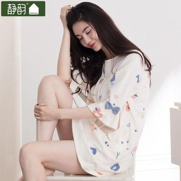 VONEGQ 2017 nightgown women's spring new arrival juniors sweet sleepwear 100% cotton loose fifth sleeve lounge
