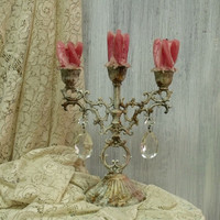 Vintage Rusted metal candle holder Dripping candles Shabby chic candlestick dramatic aged Shabby chic candlestick