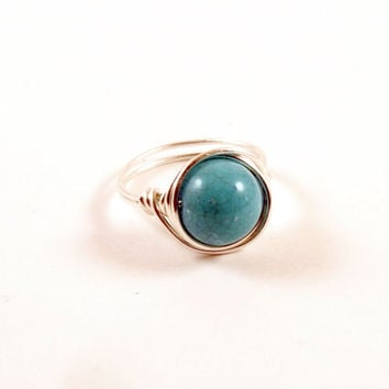 Turquoise .999 Pure Silver Wire Wrapped Ring Size 6 Silver Wire Wrap Ring