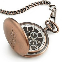 Personalized Satin Bronze Pocket Watch , Add Your Message