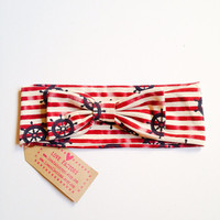Retro bow headband Vintage Chic Marine anchor Nautical Stripe Cream :) Love Factory By Rie Miyamoto