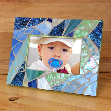 Blue Stained Glass Mosaic Picture Frame, Beach Glass Mosaic Picture Frame