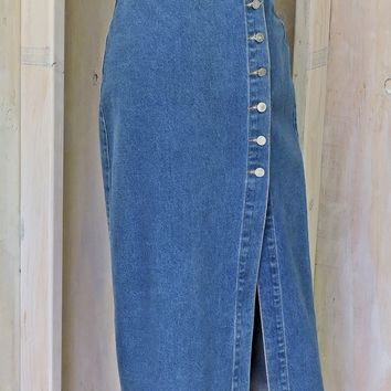 Denim maxi skirt / size S 5 / 6 / high waisted long jean skirt / 80s retro Star Cody / country western
