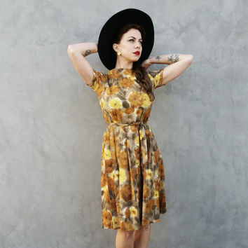 50's/60's Golden Floral Cocktail Dress