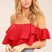 Filled with Surprises Red Off-the-Shoulder Crop Top