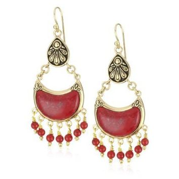 "Bronzed by Barse ""Flameneo"" Red Howlite Dangle Earrings"