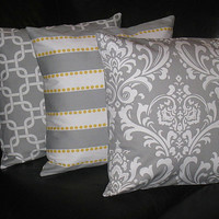 """Decorative Pillows Storm Gray 20"""" TRIO Throw Pillow Cover 20 inches Chain Link, LuLu, Damask set of THREE corn yellow, grey and white"""