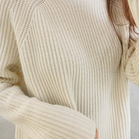 Beige Mock Neck Sweater