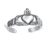 Sterling Silver Claddagh Design Toe Ring - Oxidized
