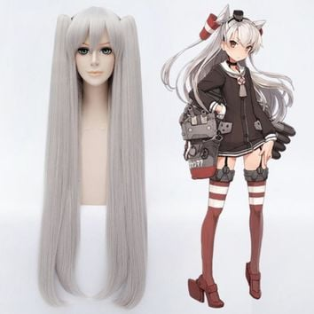 Kantai Collection Amatsukaze 100cm Long Straight Cosplay Wig for Women Synthetic Hair for Anime Party Costume Wigs