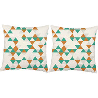 Teal and Orange Triangle Print Pillows - Retro Geometric Pillow Covers with or without Cushion Inserts - Retro Throw Pillows, Mid-Century
