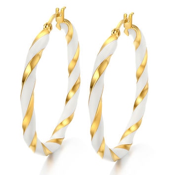 fashion Female Jewelry 18k gold plated hoop Earrings For Women 316L Stainless Steel  simple Rock AAA zircon Earrings
