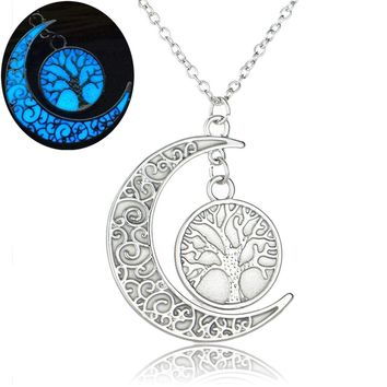 Tree of Life Pattern Moon Necklaces Crescent Noctilucous Glow In the dark Pendant