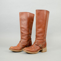 70's Brown Leather RIDING Boots US 6.5