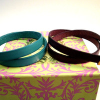 Leather Bracelet Wrap Around in Light Blue or Violet