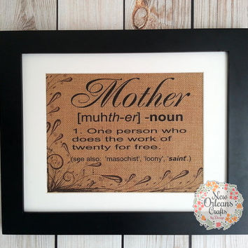 Mothers Day Meaning of Mother 11x14 Framed Tan Burlap Print