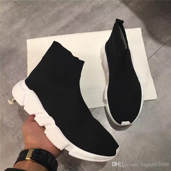2017 paris balenciaga original high quality unisex casual shoes flat fashion socks boots woman new slip on elastic cloth speed trainer runner man shoes outdoors 2