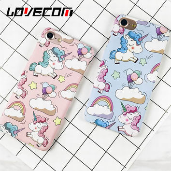 Cute Rainbow Unicorn Case For iPhone 7 Case For iphone 5 5S SE 6 6S 7 Plus Matte Hard PC Back Cover Phone Cases Horse Capa