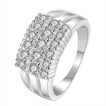 High Quality Silver Color three string line stone Ring for Women Gift Silver wedding Fashion jewerly Ring de Prata