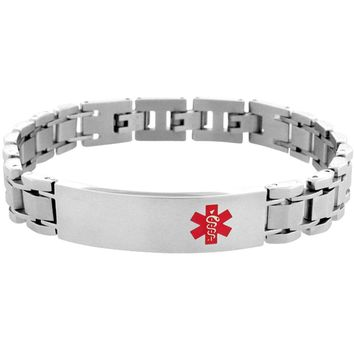 INOX Jewelry 316L Stainless Steel Red Caduceus Medical Alert Symbol Bracelet