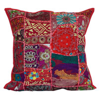 40x40 cm Red Multicolor Old Vintage Handmade Patchwork Pillow Cover on RoyalFurnish.com